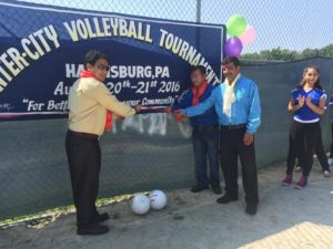 TB Gurung from Harrisburg and Sancha Man Rai from Pittsburgh inaugurating the final match. Photo: Tika Dhungana