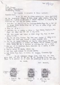 Copy of the affidavit he received from the Tshogpas. Picture Courtesy: Sarki Dhan